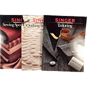 Old Reference Books - Singer Sewing – 3 Paperbacks – Tailoring, Specialty Fabrics, Quilting by Machine