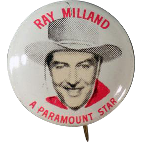 Vintage Pin - Old Quaker Cereals Pinback Button - Ray Milland