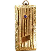 Vintage Masonic Card Case – Old Watch Fob with Freemasonry Emblem