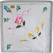 Vintage Hankie Set - Three Old Handkerchiefs with Colorful Flowers - 3 in Original Packaging