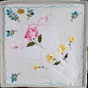 Vintage Hankie Set - Three Old Handkerchiefs with Colorful Flowers - 3 in Original Packaging