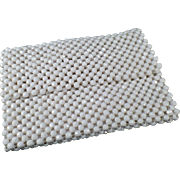 Vintage Evening Bag - Old White Bead Handbag Clutch from Italy - 1970's Small Purse