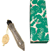 Vintage Djer-Kiss Perfume Bottle – Old Icicle Ornament Bottle with Original Tag and Christmas Gift Box