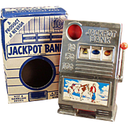 Vintage Penny Bank - Old Jackpot Slot Machine Toy Bank with Original Box