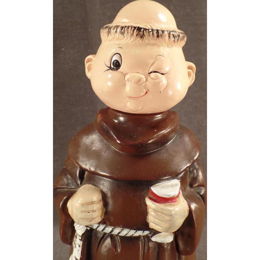 Vintage Musical Monk Decanter - Old Wind Up Music Box Ceramic Friar