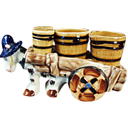 Vintage Ceramic Condiment Set - Donkey Cart Salt, Pepper, Cream and Sugar - Western Motif