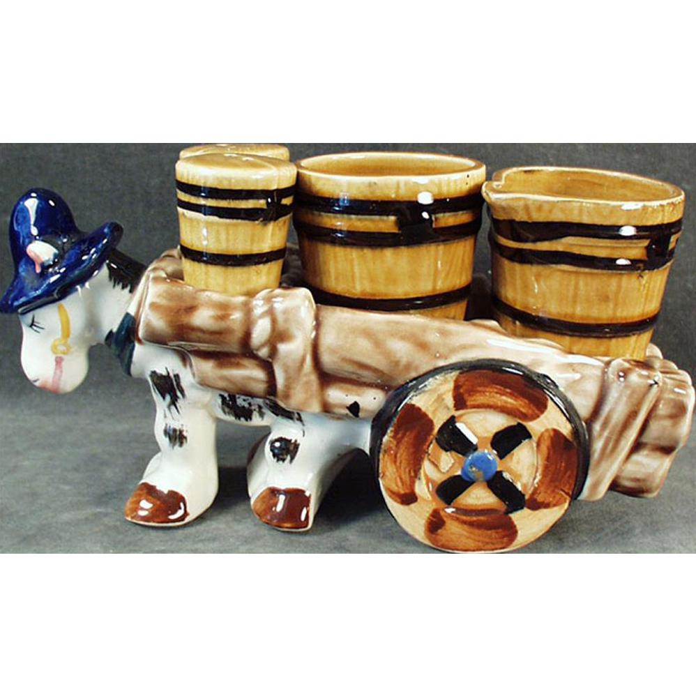 Vintage Ceramic Condiment Set - Donkey Cart Salt, Pepper, Cream and Sugar - Western Motif