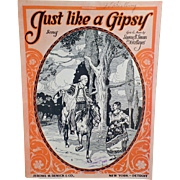 Vintage Sheet Music – Just Like a Gipsy – Nice Graphics of Wandering Gypsies