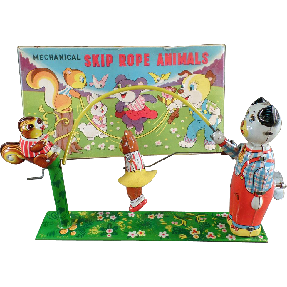 Vintage T.P.S. Tin Toy - Old Wind-up Skip Rope Animals with Original Box