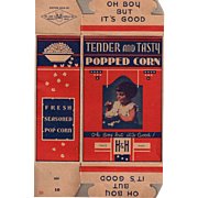Vintage Pop Corn Box - Old H & H  Popcorn Box with Little Girl