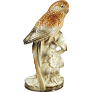 Vintage Bird Figurine - Pretty Porcelain Parakeet in Brown Tones