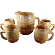 Vintage Frankoma Pottery - Five Piece Barrel Set - Large 65oz Pitcher with 4 Matching Mugs