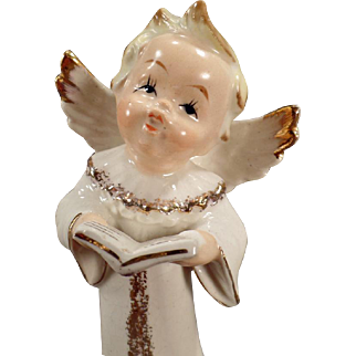 Vintage Porcelain Angel – Old Semco Figurine – Angel with Hymn Book