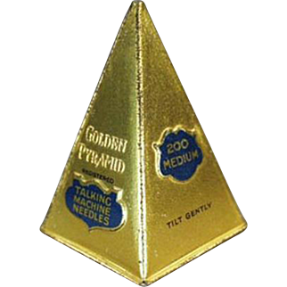 Vintage Phonograph Needle Tin - Golden Pyramid - Attractive Old Needle Tin