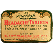 Vintage Medicine Tin - Rawleigh Headache Tablets Tin – Old Medical Advertising