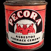 Vintage Tin with Devil Graphics  - Old Pecora Asbestos Furnace Cement Tin
