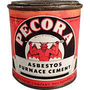 Vintage Tin with Devil Graphics  - Old Pecora Asbestos Furnace Cement Tin