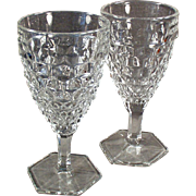 Vintage Fostoria Glassware - Pair of Old American Pattern Stemmed Water or Wine Goblets - 10 Available