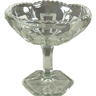 Vintage Pressed Glass - Old Compote Pedestal Dish with Greek Key Design