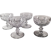 Vintage Heisey Glassware - Set of 4 Old Sherbets - #1506 Provincial Pattern - Clear