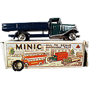Vintage Line Bros. Tri-Ang Minic Toy - Delivery Lorry Truck Wind Up with Box