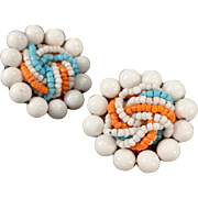 Vintage Clip-On Costume Earrings - Colorful Bead Assortment - Japan - 1950's - 1960's