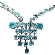 Vintage Rhinestone Necklace - Vibrant Turquoise, Aquamarine Color - Deco Influence