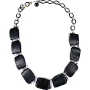 Vintage Choker Necklace - Old Lisner Necklace - Molded Black Plastic and Chrome Deco Look
