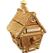Vintage Cookie Jar - Old Gingerbread Candy Shack - Twin Winton House with Elf