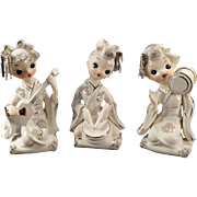 Vintage Ceramic Geisha Girls - Set of Three Pretty Geishas with Gold Trim