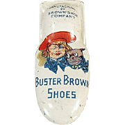 Vintage Tin Clicker Toy - Old Buster Brown Shoes Advertising