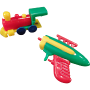 Vintage Key Chain Toys - Old Dexterity Puzzle Space Gun and Train - Parts Only