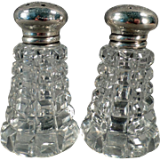 Vintage Sterling Lidded Salt and Pepper Set - Crystal with Sterling Silver Lids