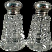 Vintage Sterling Lidded Salt and Pepper Set - Crystal with Sterling Silver Lids
