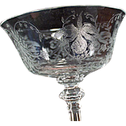 Vintage Heisey Glass Stemware - Old Orchid Etch Champagne Glass or Tall Sherbet - (4) Four Available