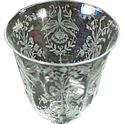Vintage Heisey Glass Stemware - Old Orchid Etch Wine Goblet