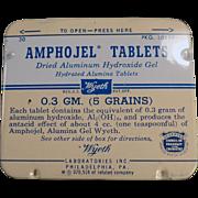 Vintage Amphojel Antacid Tablets Medicine Tin - Wyeth - Old Medical Tin