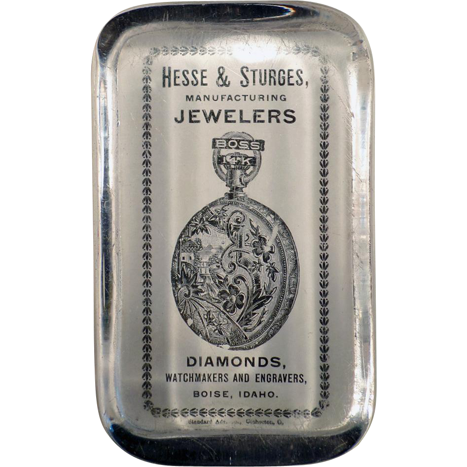 Vintage Glass Paperweight - Old Boss Pocket Watches Advertising - Boise Jewelers ca.1900