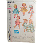 Vintage Doll Clothes Pattern - Old Simplicity Pattern #4839 - Doll Clothes for Chatty Baby and Other Toddler Dolls