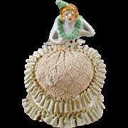 Vintage Half Doll - Old Pincushion Doll with Fancy Original Dress