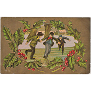 Vintage Christmas Postcard - Young Boys Ice Skating - Old Gold Enhanced Card