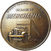 Vintage Bronze Paperweight - Old Medallion Advertising Merchant Motor Freight Trucking