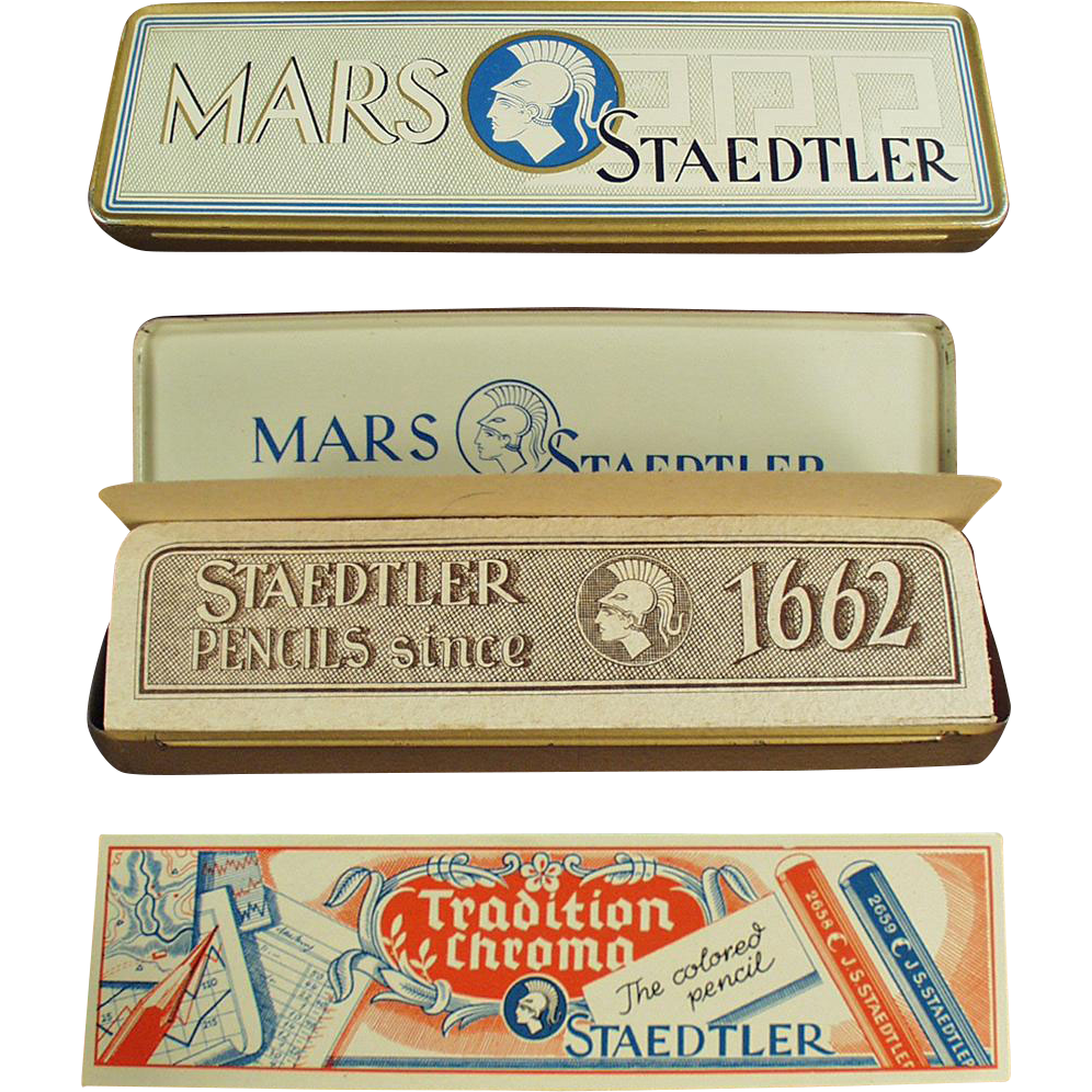 Vintage Pencil Box - Old Metal Mars Staedtler Tin with Paper Inserts - Germany