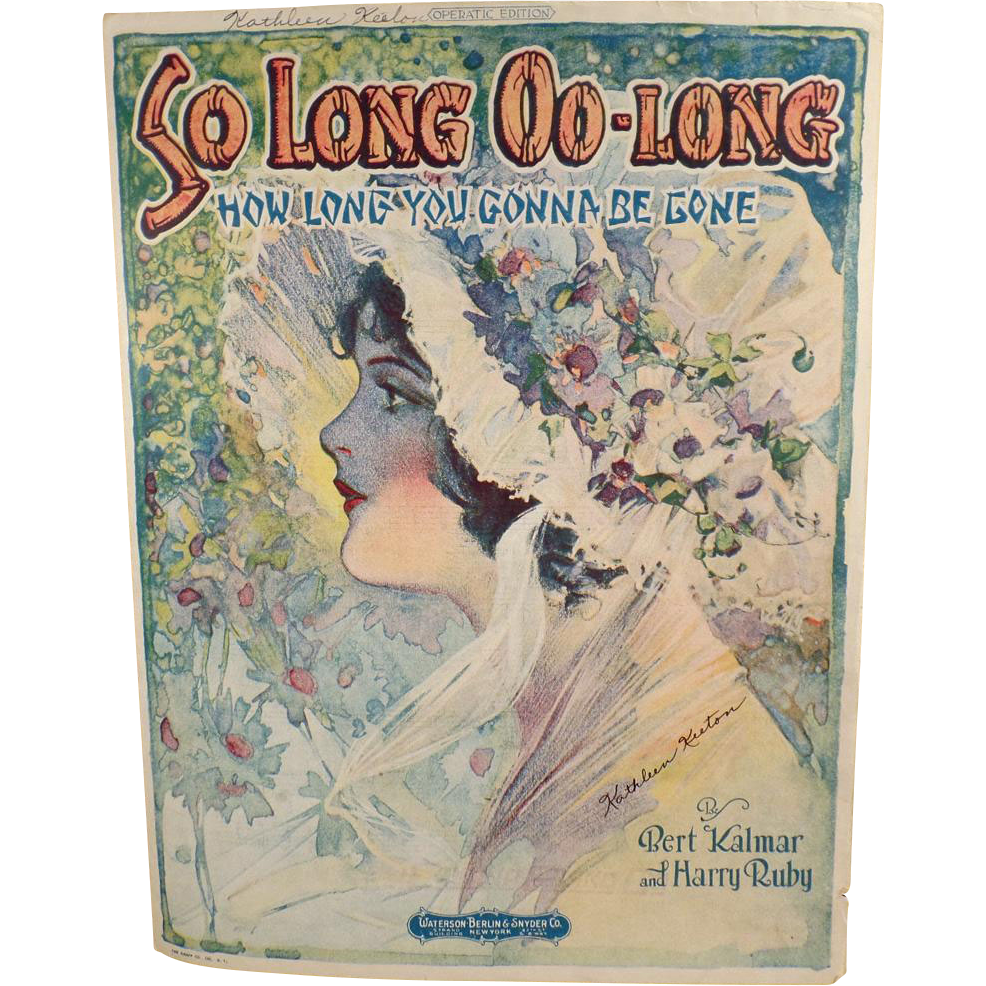 Vintage Sheet Music - So Long Oo-Long How Long You Gonna Be Gone - 1920