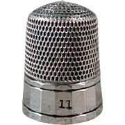 Vintage Sterling Silver Thimble - Simple Pattern - Size 11 Simons Brothers