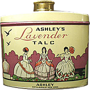Vintage Talc Tin -  Old Ashley's Lavender Talc - 1940's - 1950's