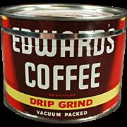 Vintage Coffee Can - Half Pound Edwards Key Wind Tin