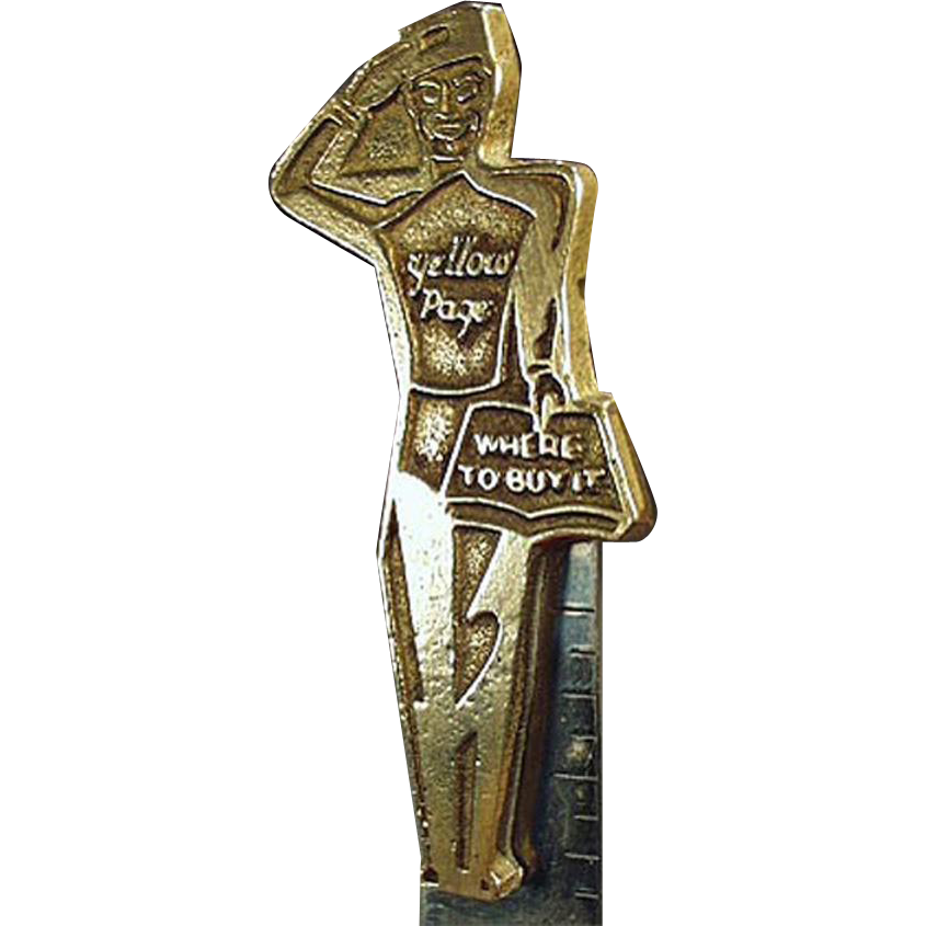 Vintage Letter Opener - Mountain States Telephone Yellow Page Advertising - Brass and Steel