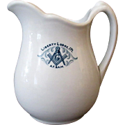 Vintage Restaurant China – Masonic Liberty Lodge 171 Pitcher - 1923