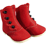 Vintage Felt Baby Shoes - Red Felt & Black Buttons - Alfred Dolge's Slippers